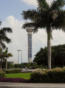 Arriving at the airport! Check out the Corona tower!