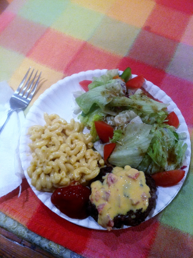 Burger, Mac, Salad